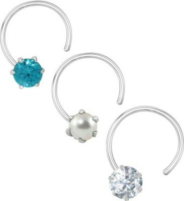 R,Silver,s Zircon Silver Nose Ring Set(Pack of 3)