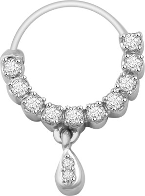 Vijisan 0.42 Ct. Fashion Glossy Cubic Zirconia 18K White Gold Plated Sterling Silver Nose Ring