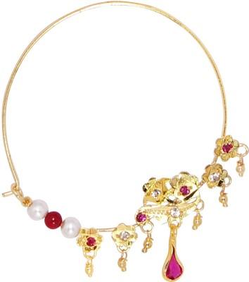 R S Jewels Jodha Akber Style Cubic Zirconia Alloy Nose Stud at flipkart