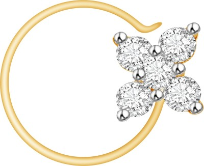 Vijisan Cubic Zirconia 18K Yellow Gold Plated Sterling Silver Nose Stud