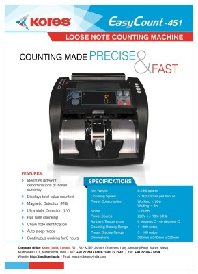 Kores 451 Note Counting Machine