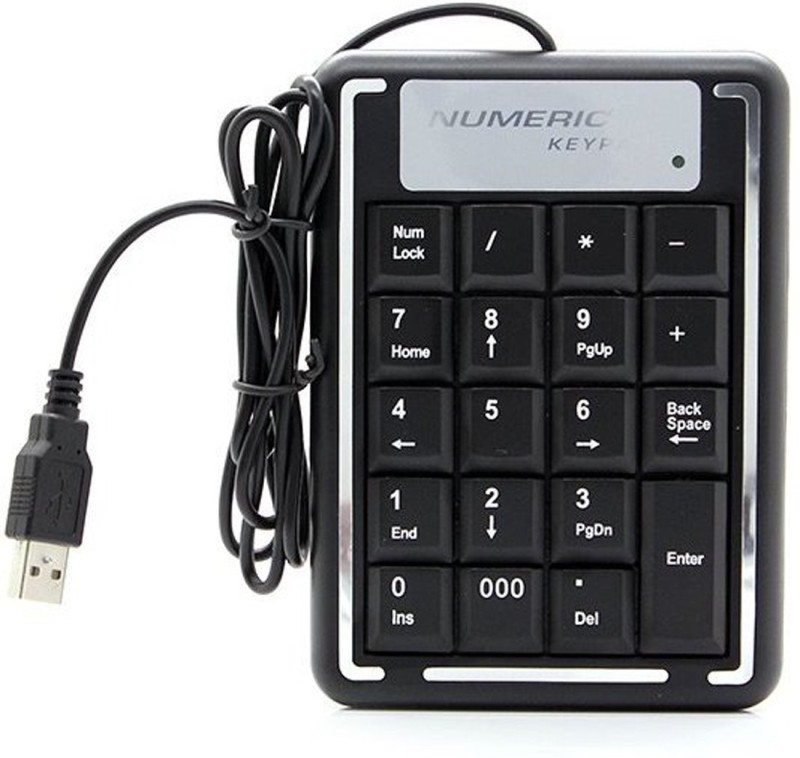 Techvik MINI USB Keyboard 19 Key Numeric Keypad For PC Computer Laptop Notebook Wired Number Pad(USB 2.0, USB 3.0)