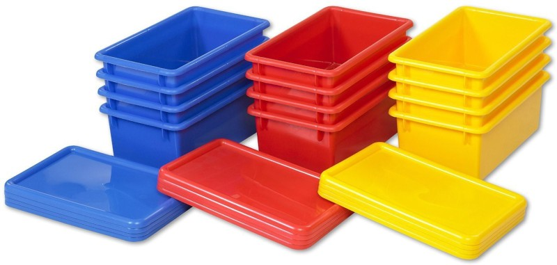 ECR4Kids Stack and Store Bin with Lid Storage Bin(Multicolor)