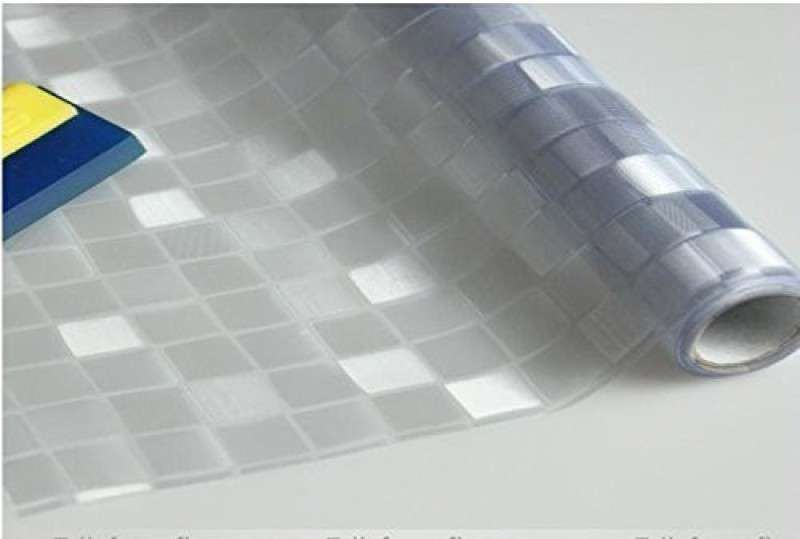 Coavas Static Window Film 3D Litter Squre Window Decal 3D Square(White, Grey)