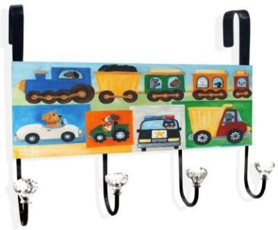The Kids Room by Stupell Doggies Driving Vehicles Over the Door Hanger Door Hanger