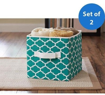 Better Homes & Gardens Collapsible Fabric Storage Cube - Teal Lattice Basket & Liner