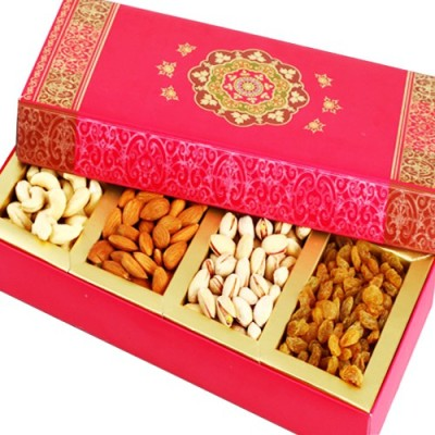 Ghasitaram Gifts Long Pink Dryfruit Box Cashews, Almonds, Pistachios, Raisins