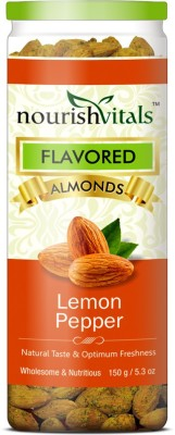 NourishVitals Roasted Lemon Pepper Flavored Almonds(150 g, Can)
