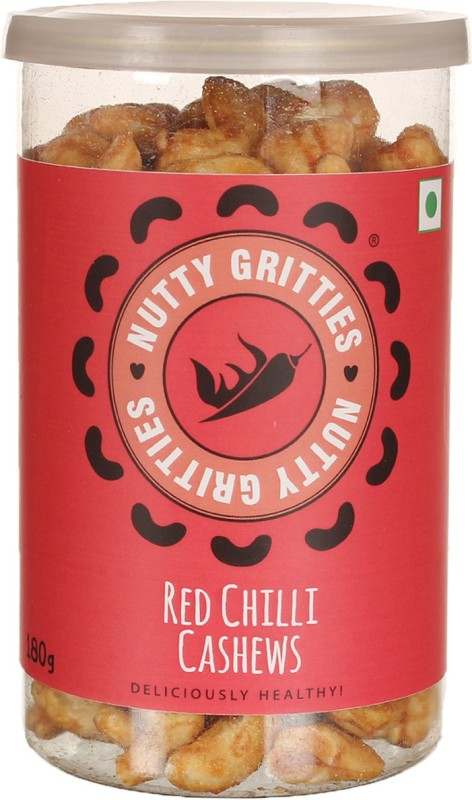 Nutty Gritties Red Chilli Dry Fruit Cashews(180 g, Mason Jar)