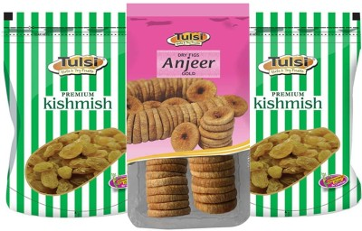 Tulsi Indian Green Kishmish 200g*2 +Good Quality Anjeer 500g Dry Figs(900 g, Pouch)