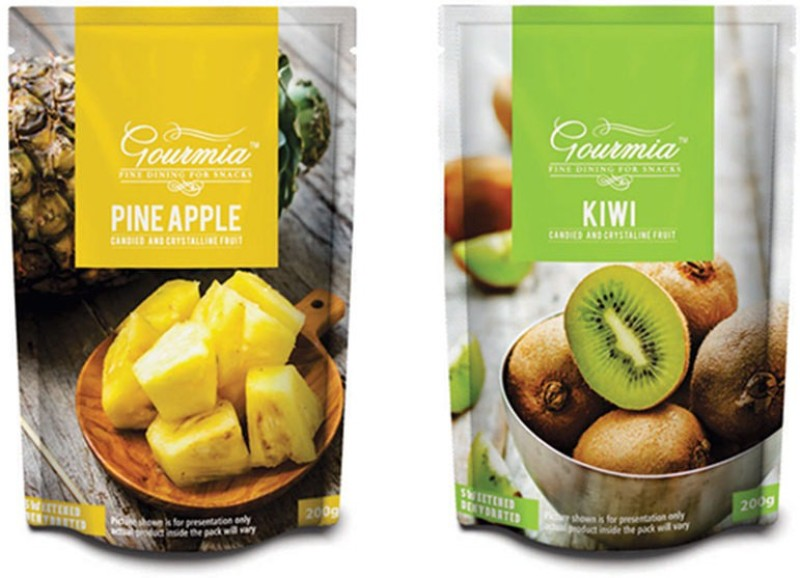 Gourmia Pineapple and Kiwi Candied and Crystalline Fruit Combo Kiwi, Pineapple(400 g, Pouch)