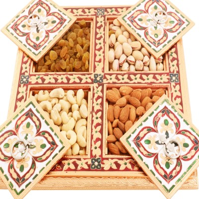Ghasitaram Gifts Copper Minakari 4 Drawer Box Cashews, Almonds, Raisins, Pistachios