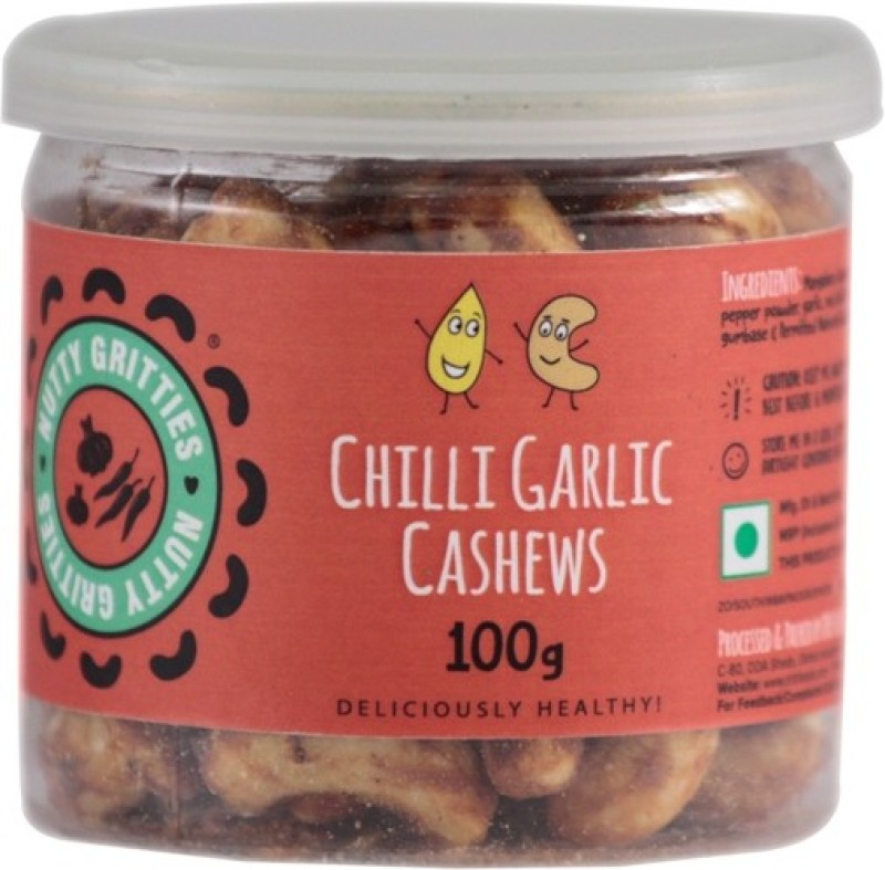 Nutty Gritties Chilli Garlic Cashews(100 g, Can)