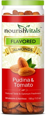 NourishVitals Roasted Pudina & Tomato Flavored Almonds(150 g, Can)