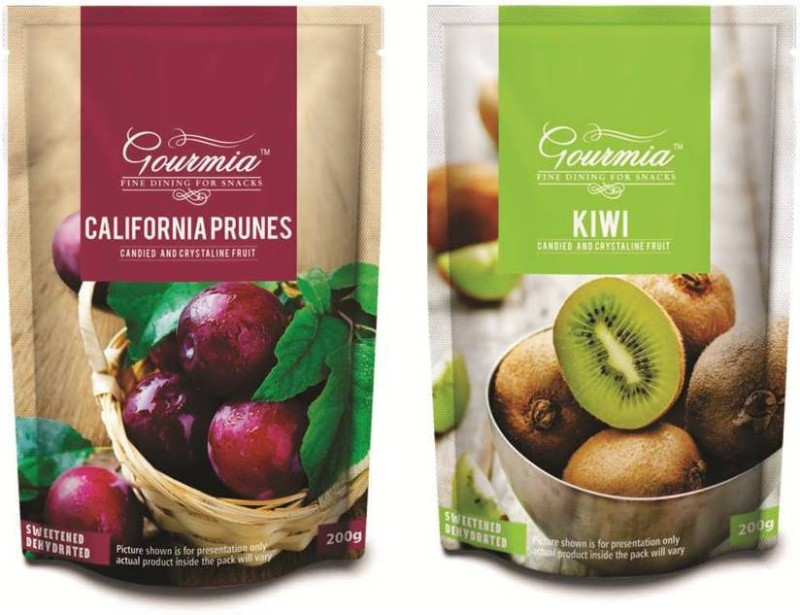 Gourmia California Prunes Candied and Crystalline Prunes, Kiwi(400 g, Pouch)