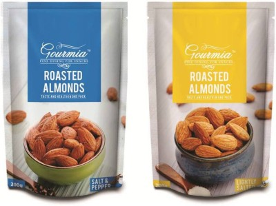 Gourmia Roasted Salt & pepper + Lightly Salted Combo Pack of 2 (200g x 2) Almonds(400 g, Box)