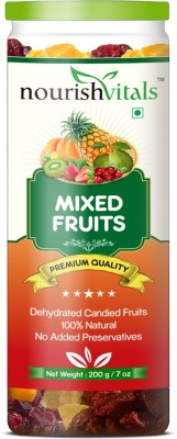 NourishVitals Mixed Dried Fruits (Dehydrated Fruits) Almonds, Gooseberry, Apricots, Cranberries(200 g, Can)