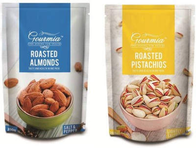 Gourmia Roasted Almonds Salt & Pepper 200g + Lightly Salted 200g Pistachios(400 g, Box)