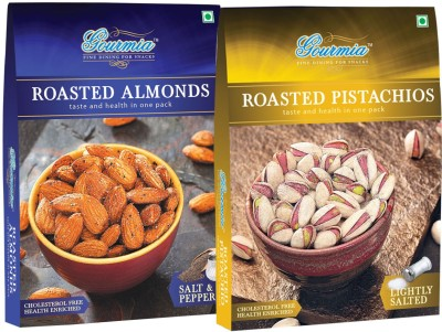 Gourmia Roasted Salt & Pepper + Pistachios Lightly Salted Combo Pack of 2 (200 x 2) Almonds