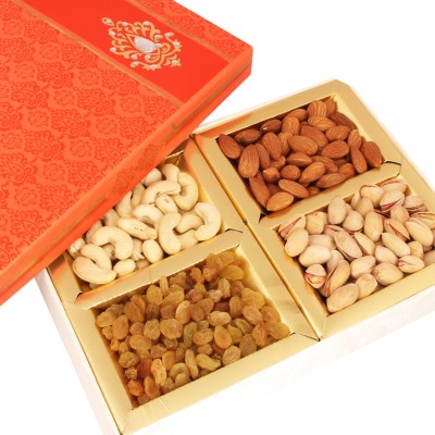 Ghasitaram Gifts Orange Dryfruit Box Cashews, Almonds, Raisins, Pistachios