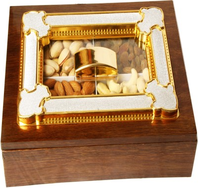 Ghasitaram Gifts Wooden Multipurpose Dryfruit Box Cashews, Almonds, Raisins, Pistachios