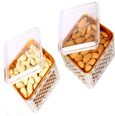 Ghasitaram Gifts Set of Two Multipurpose Dryfruit Airtight Containers Cashews, Almonds