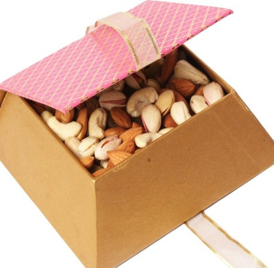 Ghasitaram Gifts Pink Mixed Dryfruit Box Cashews, Almonds, Pistachios, Raisins