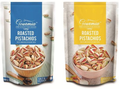 Gourmia Roasted Salt & Pepper + Lightly Salted Combo Pack of 2 (200g x 2) Pistachios(400 g, Box)