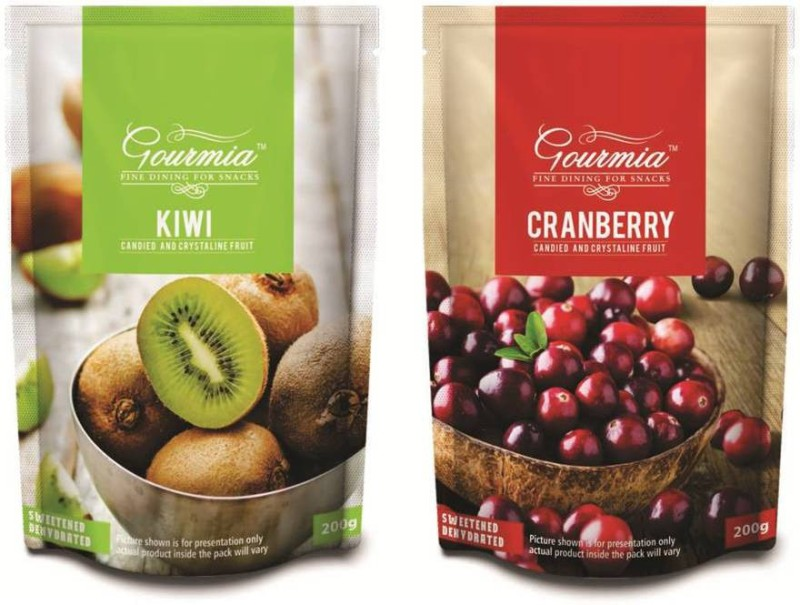 Gourmia Kiwi Candied and Crystalline Fruit Combo Kiwi, Cranberries(400 g, Pouch)
