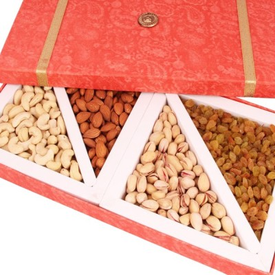 Ghasitaram Gifts Big Peach Dryfruit Box Cashews, Almonds, Pistachios, Raisins