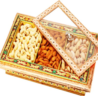 Ghasitaram Gifts Big Gold Minakari Window Box Cashews, Almonds, Pistachios