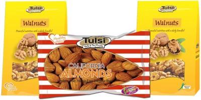 Tulsi California Almonds Premium 500g + Kashmiri (Good Quality) Walnuts(900 g, Pouch)