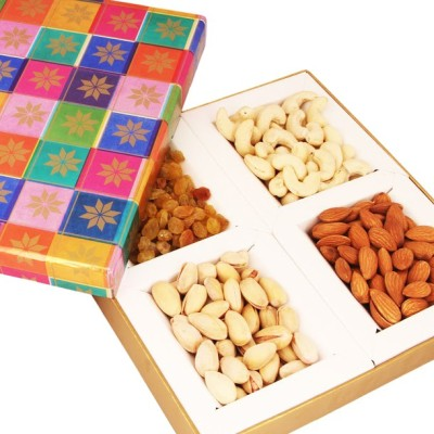 Ghasitaram Gifts Multicolour Dryfruit Box Cashews, Almonds, Pistachios, Raisins