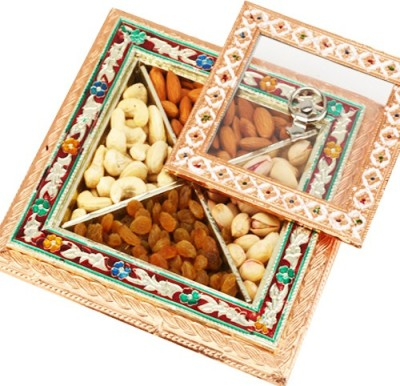 Ghasitaram Gifts Medium Gold Minakari Window Box Cashews, Almonds, Pistachios, Raisins