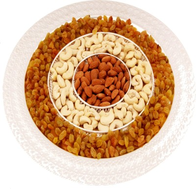 Ghasitaram Gifts Silver Round 3 Round Partition Tray Cashews, Almonds, Raisins