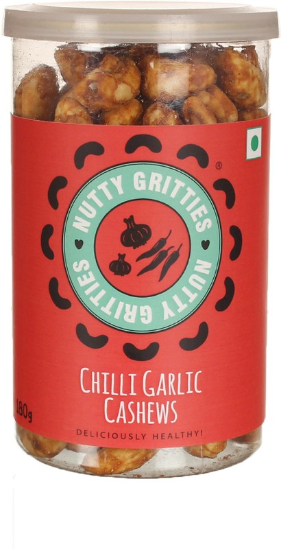 Nutty Gritties Chilli Garlic Dry Fruit Cashews(180 g, Mason Jar)