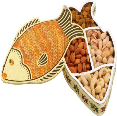 Ghasitaram Gifts Fish Minakari Dryfruit Box Cashews, Almonds, Raisins, Pistachios