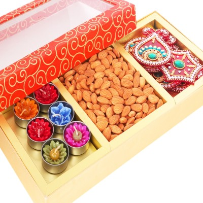 Ghasitaram Gifts Diwali Gifts Dryfruit Orange Hamper Box with T-lites, Almonds and Rangoli Almonds
