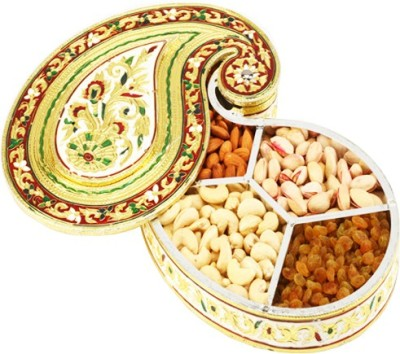 Ghasitaram Gifts Mango Shape Minakari Box Cashews, Almonds, Pistachios, Raisins
