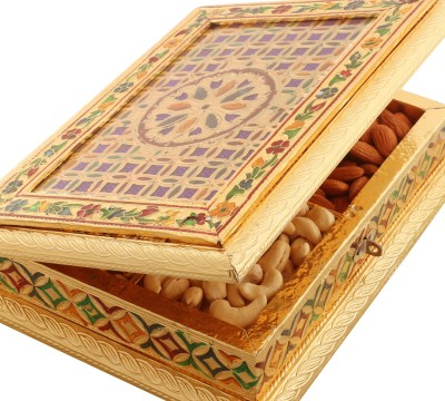 Ghasitaram Gifts Golden Checks Minakari Dryfruits Box Cashews, Almonds, Raisins, Pistachios