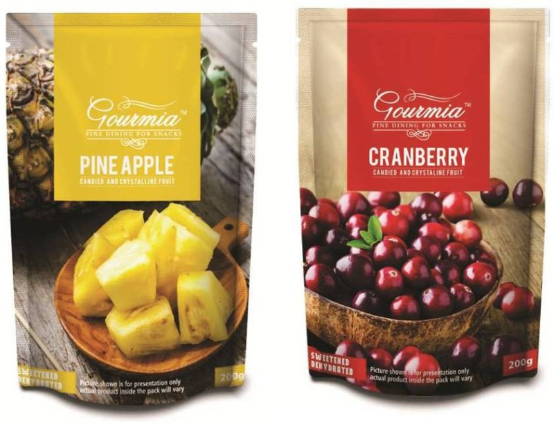 Gourmia Pineapple Candied and Crystalline Pineapple, Cranberries(400 g, Pouch)