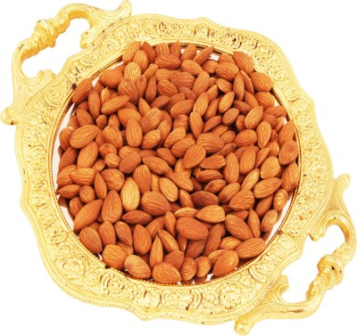 Ghasitaram Gifts Designer Round Golden Carved Tray Almonds