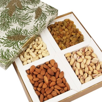 Ghasitaram Gifts Green Leaf Dryfruit Box Cashews, Almonds, Pistachios, Raisins
