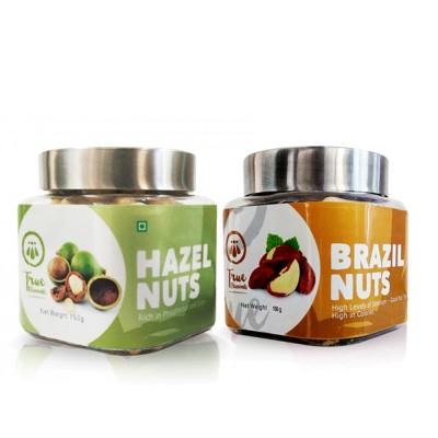 True Elements Nts Packs Hazelnuts, Brazil Nuts(150 g, Plastic Bottle)