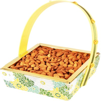 Ghasitaram Gifts Green Basket Almonds