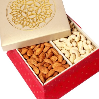 Ghasitaram Gifts Red Gold Dryfruit Box Cashews, Almonds