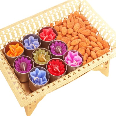 Ghasitaram Gifts Diwali Gifts Dryfruit Golden Tray with T-lites and Almonds Almonds
