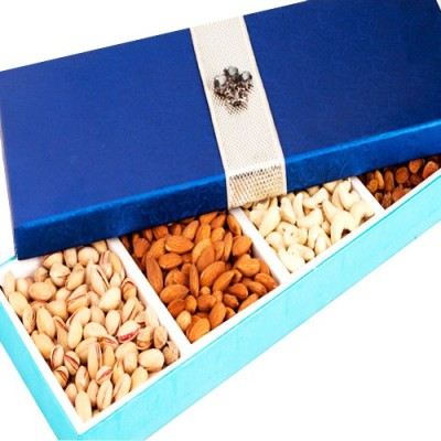 Ghasitaram Gifts Blue Dryfruit Long Box Cashews, Almonds, Pistachios, Raisins