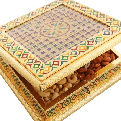 Ghasitaram Gifts Big Golden Checks Minakari Dryfruits Box Cashews, Almonds, Raisins, Pistachios