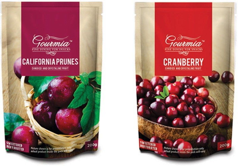 Gourmia California Prunes Candied and Crystalline Prunes, Cranberries(400 g, Pouch)
